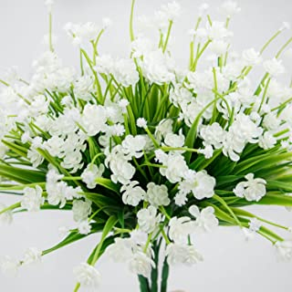 Artificial Flowers Fake Outdoor Faux Plants Greenery Daffodils White Shrubs Plastic Bushes Indoor 4 pcs