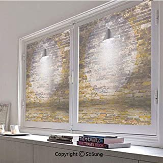 30x30 inch Decorative Static Cling Frosted Privacy Window Film,Dark Cracked Bricks Ceiling Lamp Spot Light Life Building Urban City Image Glass film for Window Glass Panels,UV Protection,Energy Saving