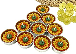 NAVA CHIANGMAI Flower Tealight Candles Scented Tea Lights Aromatherapy Relax Candles for Birthday Party Supplies and Wedding Favor Baby Shower Decorations Pack of 10 Pcs. (Sunflower)
