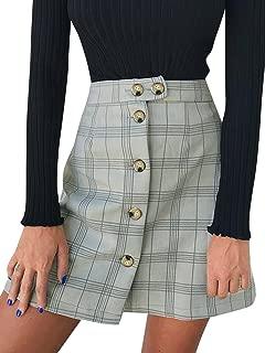 BerryGo Women's Casual High Waist Button A-Line Pencil Mini Skirt