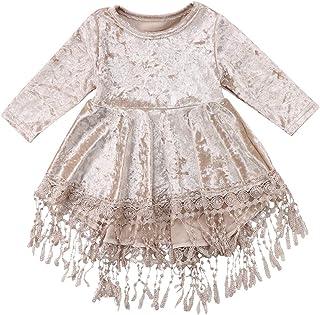 Fairy Baby Baby Girls Vintage Princess Dress Kid Flower Silver Velvet Tassel Party Outfit