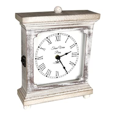 Rustic Wood Clock For Shelf Table Or Desk 9 x7  - Farmhouse Decor Distressed White Washed Mechanical Quiet Silent - Office, Bedroom Fireplace Mantel Living Family Room. AA Battery Operated Non-Digital