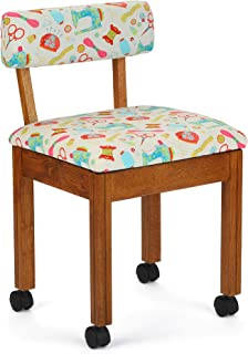 Arrow 7000W Wood Sewing and Craft Chair with Under Seat Storage, Print Upholstery Fabric, Oak with White Notions Print Fabric