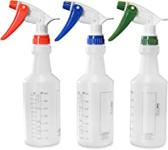 Commercial-Grade 16 oz Professional Spray Bottles with 1 oz Measurements - Cleaning & Food Safe - Will Not Leak - Red/Blue/Green Color - Pack of 3 - Made in U.S.A and Taiwan