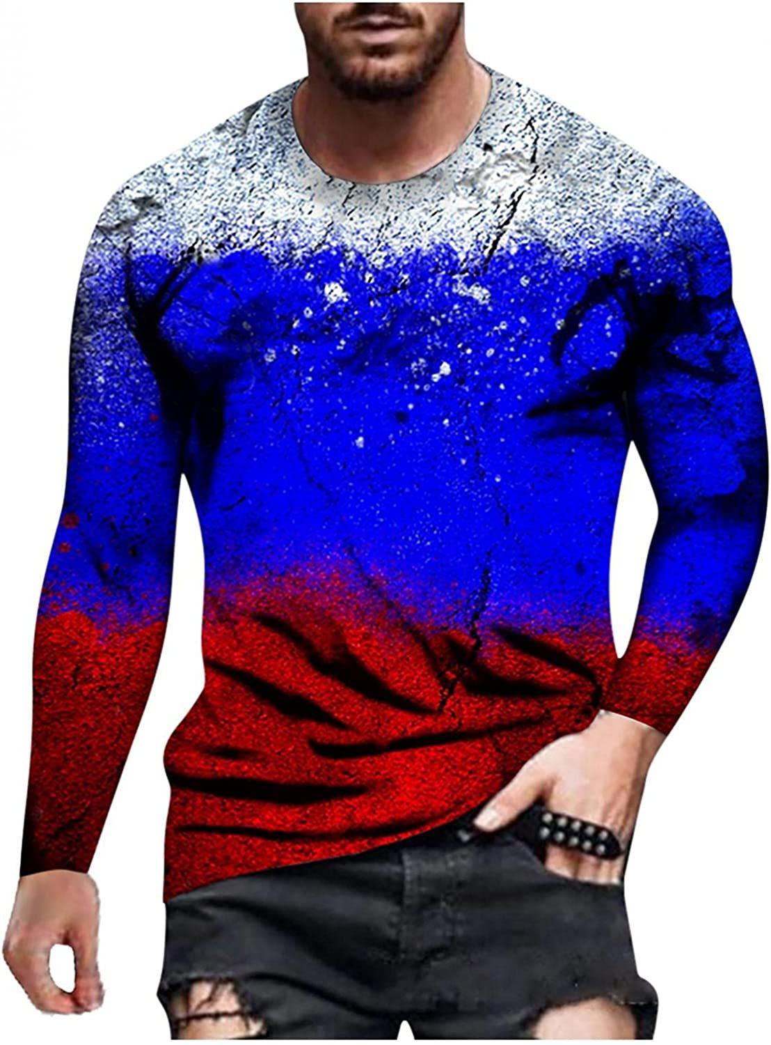 Long Sleeve Tee Shirts for Men Floral Graphic Crewneck Sweatshirt Casual Men's T-Shirts Muscle ASport Pullover Top