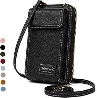 Women Purse Leather Cellphone Holster Wallet Case Mini Small Crossbody Shoulder Bag Messenger Pouch Ladies Handbag Clutch Phone Pockets for iPhone 8 Plus Xs Max X Xr 7/6 Plus Samsung S10+ (Black)