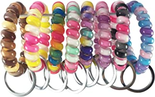 YAKA 20PCS Mix-Colour Plastic Stretchable Spring Coil Key Chain-Spiral Coil Wrist Keychain for Office, Workshop, Shopping Mall, Sauna and Outdoor Activities Place (2)