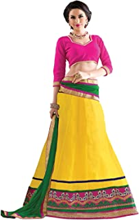 Indian Dresses Store Florence Women's Net Yellow Printed Combo Lehengha Choli(an_1054,Free Size)