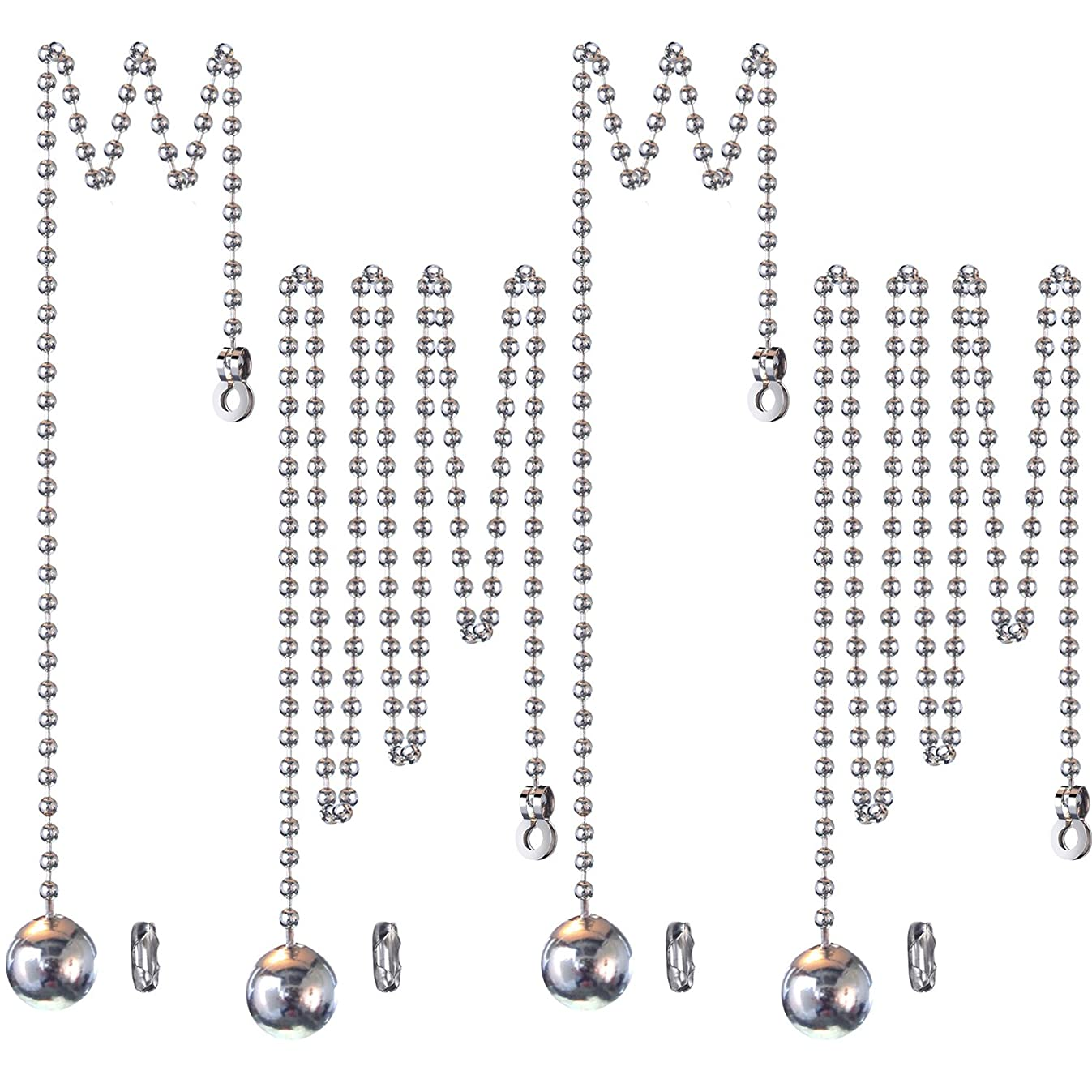 1 Meter Length Ceiling Fan Light Pull Cord Ball Pull Chain Extension with Connector, 4 Sets (Style A, 3.2 mm)