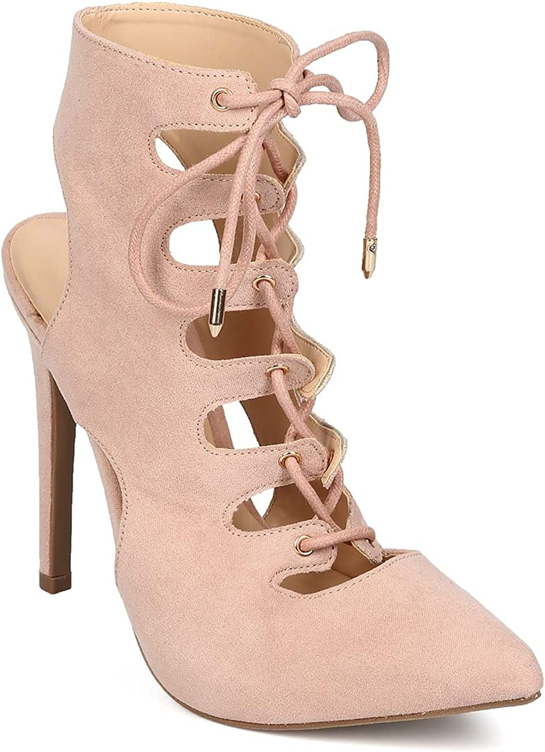 Wild Diva EG94 Women Suede Pointy Toe Lace Up Bootie Gladiator Pump - Nude