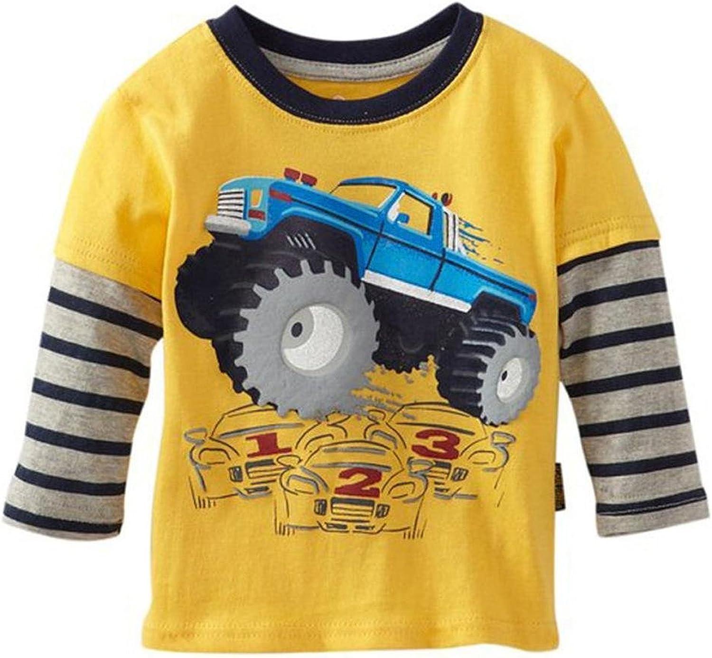 Metee Dresses Boys Columbus Mall Kids Long T-Shirts Tops Cartoon Sleeve Max 63% OFF Cotton