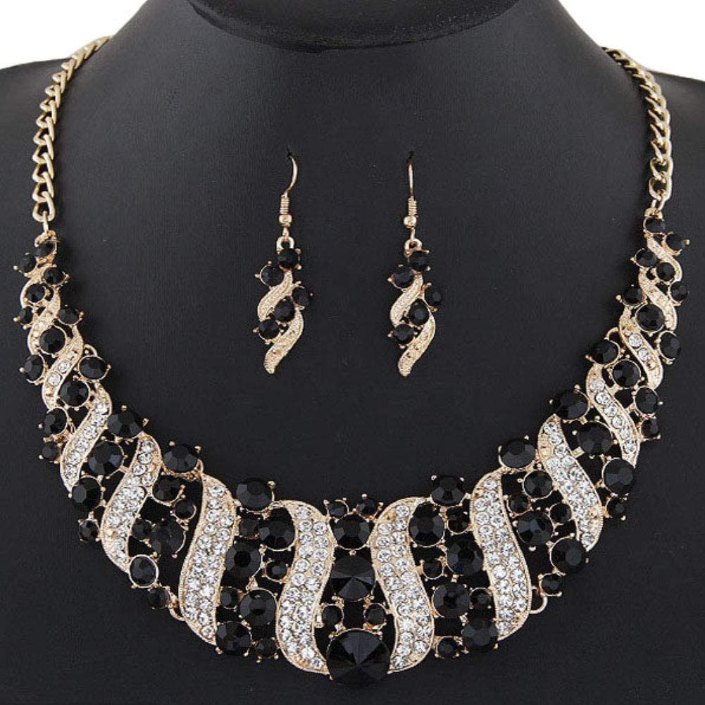 Luxury Women's Jewelry Set,Rhinestone Inlaid Chain Necklace Hook Earrings Bridal Wedding Party Jewelry Set - Black
