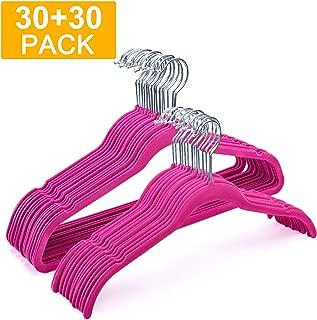 HOUSE DAY Velvet Hangers Non Slip Velvet Suit/Dress Hangers 60 Pack Velvet Shirt Hangers 16.5 &17.5 Inch Space Saving Velvet Clothes Hanger Premium Non Slip Hanger for Coats Suit Dress,Hot Pink