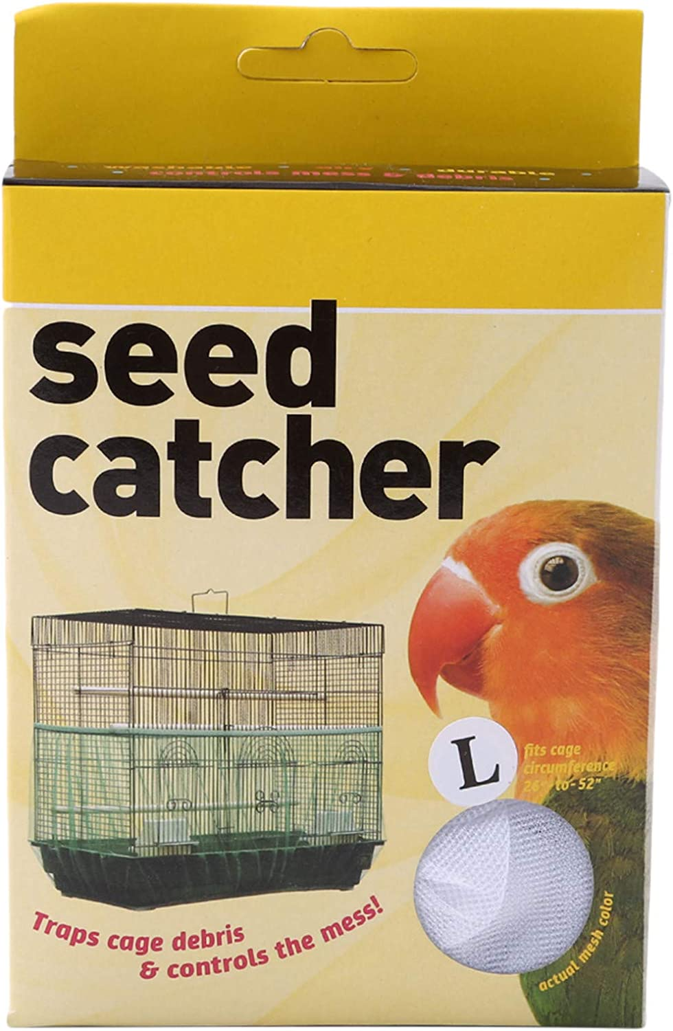 Botreelife Small Parrot mesh Flower Seed Protection Cover dust-Proof Bird cage Accessories,L Black