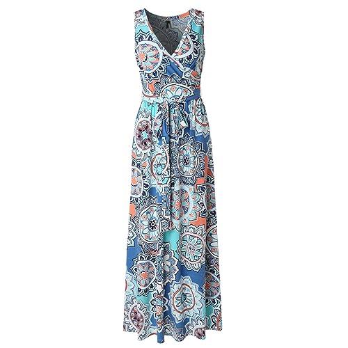 5630848eaba Zattcas Womens Bohemian Printed Wrap Bodice Sleeveless Crossover Maxi Dress
