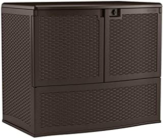 Suncast Resin Vertical Storage Box with Top Lid and Front Doors - Outdoor Bin Stores Tools, Accessories and Toys - Java Wicker