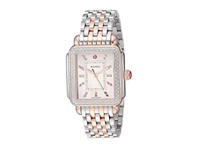 Michele Deco Diamond Carousel Dial On Bracelet (Two-Tone/Pink/Gold) Watches