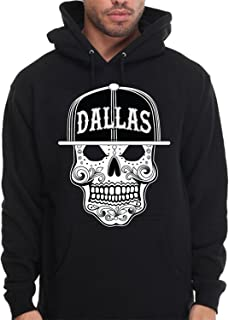 Dallas Mexican Sugar Skull Hoodie Hooded Sweatshirt Mexico Art Texas Design Maya