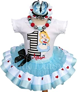 Girls Alice in Wonderland Themed Birthday Outfit with Personalized Shirt and Ribbon Trim Tutu
