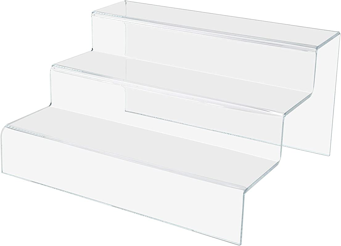 Marketing Holders 3 Tier Double Stairway Retail Display Countertop Trinket Collectible Showcase Tiered Riser Stand Pack Of 2