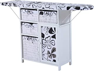 HOMCOM Collapsible Ironing Board and Shelf Unit with Storage - Hawaiian Flowers