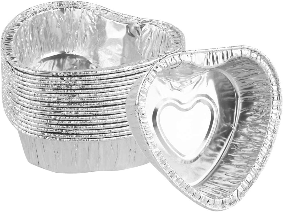 CHICTRY 60Pcs Heart Shaped Muffin Cupcake Ramekin Disposable Aluminum Foil Mini Pudding Cups Cake Dessert Quiche Tarts Baking Tin Pans Silver One Size