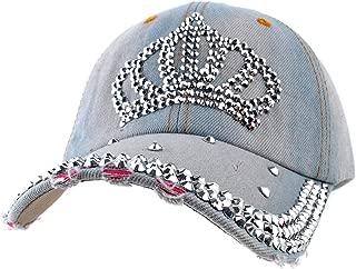 Cute Crown Baseball Cap Silver Jewel Rhinestone Bling Hats Jeans Wash Denim (Light Blue)