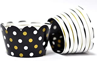 Black and Gold Cupcake Wrappers for birthday parties, Anniversary celebrations,Bridal Showers, Weddings. Set of 24 Reversible Black and Gold stripes to polka dots Scalloped Cup Cake Holder Wraps.