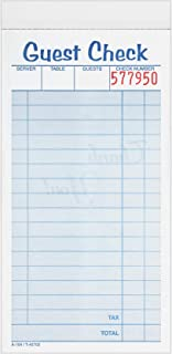 Adams Guest Check Pads, 2-Part, Carbonless, White/Canary, 3-3/8