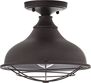 Stone & Beam Vintage Indoor Outdoor Flush Mount Ceiling Chandelier Fixture with Light Bulb - 10.6 x 10.6 x 9.24 Inches, Antique Bronze