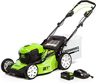 Greenworks 21-Inch 40V Brushless Self-Propelled Mower 6AH Battery and Charger Included, M-210-SP