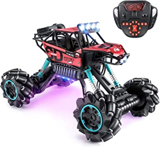 OlarHike Drift Remote Control Car 1: 14 Rechargeable RC Truck 2.4 Ghz 4WD High Speed Off Road Vehicle with LED Lights & Music, Car Toys for Boys Girls