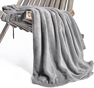 Battilo Flannel Fleece Luxury Blanket Throw 200 GSM Lightweight Cozy Plush Microfiber Solid Blanket, Silver