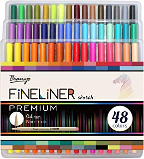 Bianyo Fineliner Micro Pens- Art Colored Markers for Adult Coloring Sketching, 48 Colors