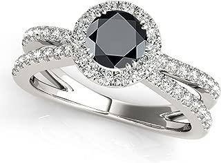 1.45 Carat Halo Black Diamond Engagement Ring In 14k White Gold