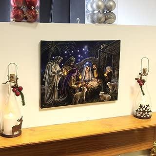 Premier Nativity Scene Canvas with Light Up Led Bulbs