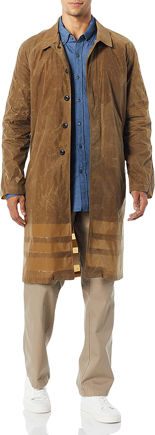 Billy Reid Men's Water Resistant Waxed Trench with Interior Stripe Detail