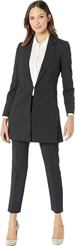 Pinstripe Topper Jacket Pants Suit