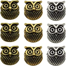30pcs Antique Silver Bronze Gold Mixed Owl Head Loose Spacer Bead,Craft Supplies Charms Pendants for Jewelry Findings Making Accessory for DIY Bracelet Necklace M199