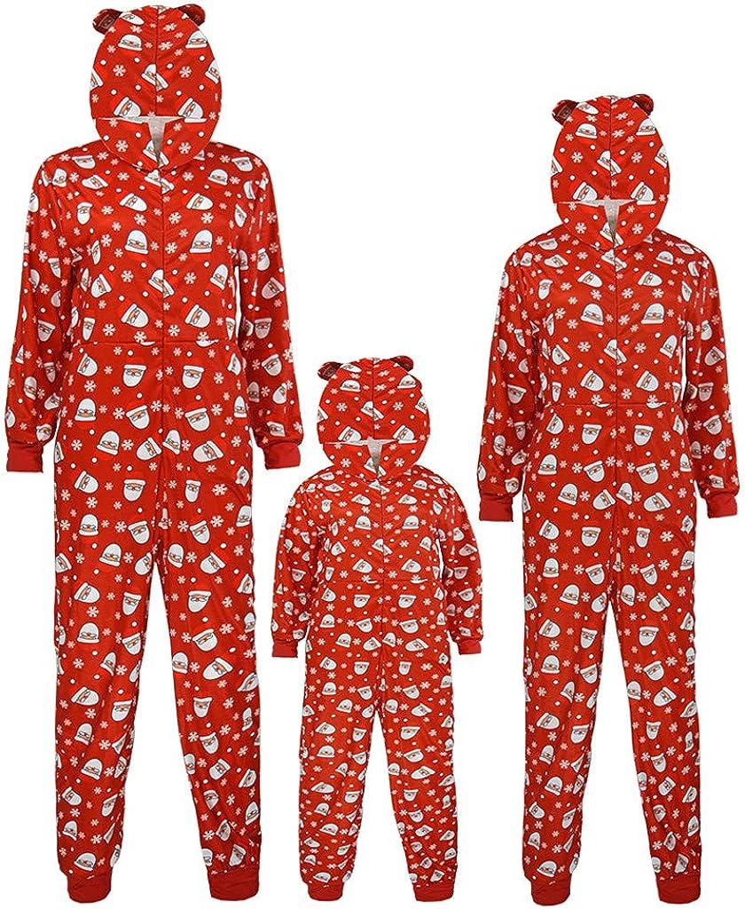 Family Christmas Pajamas Matching Sets Printed Long Sleeve One-Piece Hooded Sleepwear Jumpsuit Loungewear