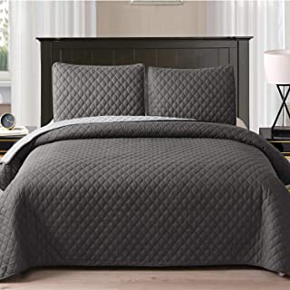 """Exclusivo Mezcla Ultrasonic Reversible 3-Piece Full/Queen Size Quilt Set with Pillow Shams, Lightweight Bedspread/Coverlet/Bed Cover - (Grey, 92""""x88"""")"""