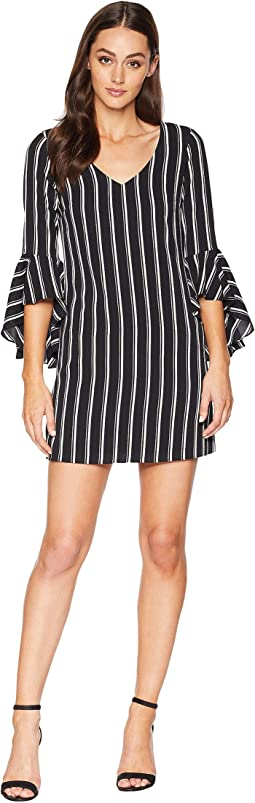 V-Neck Bell Sleeve Stripe