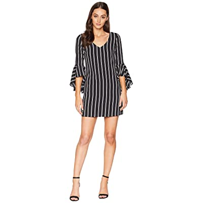 Laundry by Shelli Segal V-Neck Bell Sleeve Stripe (Black/White) Women