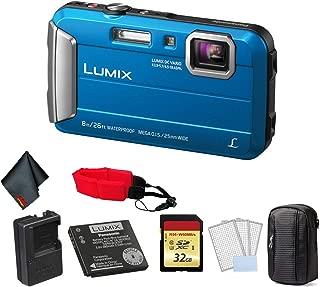 Panasonic Lumix DMC-TS30 Waterproof Digital Camera (Blue) - Bundle with 32GB Memory Card + Floating Wrist Strap + LCD Screen Protectors and More