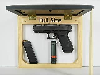 Hidden gun storage case, concealment furniture cabinet, wall pistol safe, photo sliding frame, secure firearm shelf, hardwood magnet light