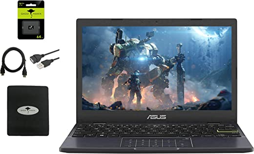 2021 Newest Asus 11''6 HD Thin Student Laptop, IntelCeleron N4020(up to 2.8 GHz), 4GB RAM, 64GB eMMC, Number Pad, 180°Lay-Flat Hinge, HDMI, Webcam, WiFi, Windows 10 S, w/64GB SD Card + GM Accessories