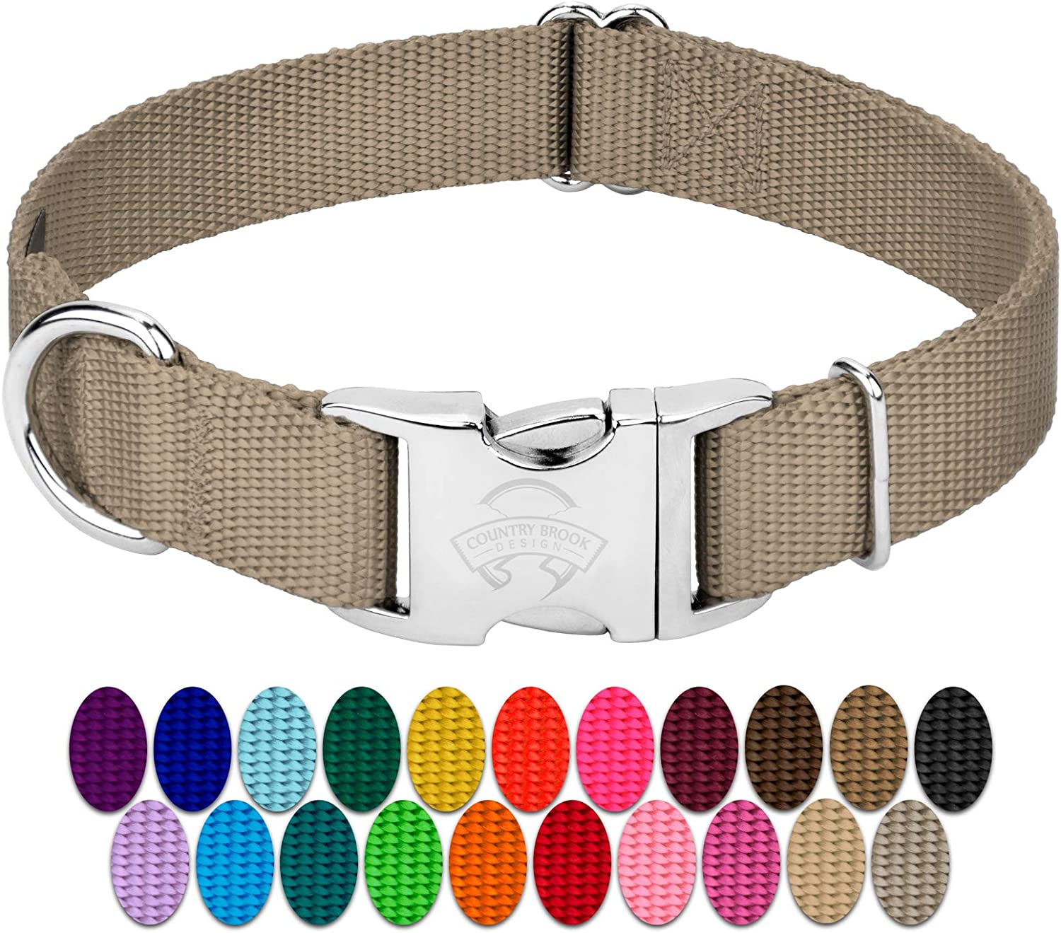 Country Brook Petz   Premium Nylon Dog Collar with Metal Buckle   Vibrant 22 color Selection (Extra Large, 1 Inch Wide)