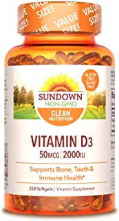 Vitamin D by Sundown, Supports Immune, Bone & Teeth, D3 Softgels, Non-GMOˆ, Free of Gluten, Dairy, Artificial Flavors, 200...