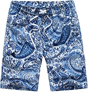 Casual Ethnic Style Pants Quick Dry Shorts Summer Beach Boardshorts with Pocket Drawstring