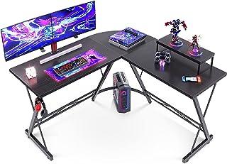 میز کار L دفاتر اداری خانگی با میز کامپیوتر گوشه ای گرد با ایستگاه کاری میز مانیتور بزرگ ، سیاه